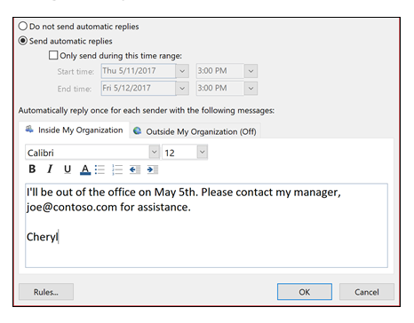 Technology Tip: Create auto-reply in Outlook